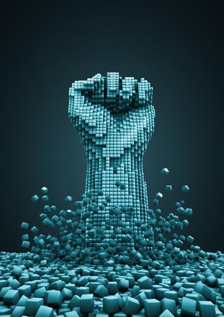puños cerrados: Revolución digital 3D render de puño pixelada levantó en señal de protesta Foto de archivo