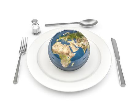 World Food 3D render van de planeet Aarde geserveerd op een bord Stockfoto