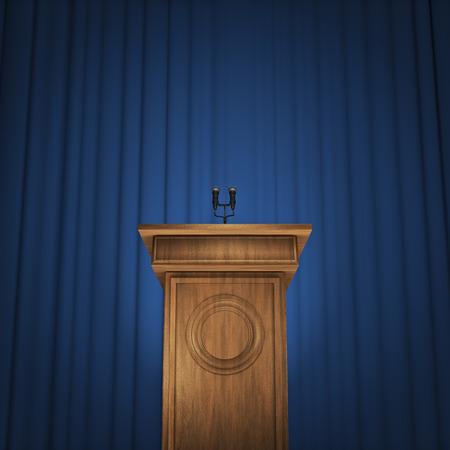 Persconferentie 3D render van spreker podium met microfoons en blauwe gordijn achtergrond Stockfoto