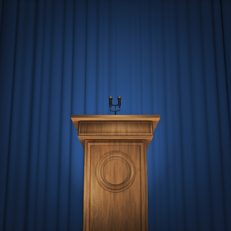Press conference  3D render of speaker podium with microphones and blue curtain background Stock Photo
