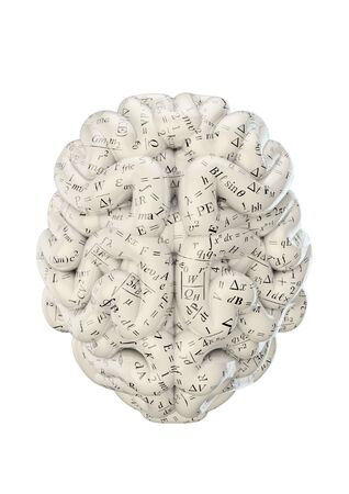 formulae: Science brain  3D render of brain covered in scientific equations and formulae