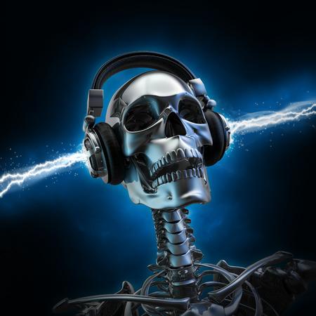 Musica soul 3D rendering di scheletro di metallo con le cuffie elettrificate Archivio Fotografico - 44445032