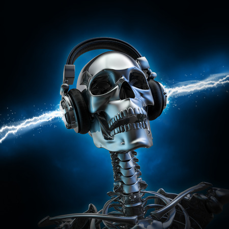Soul music  3D render of metal skeleton with electrified headphones Stock Photo