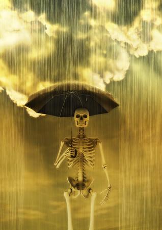 lluvia acida: Acid rain  3D render of skeleton holding umbrella in heavy rain