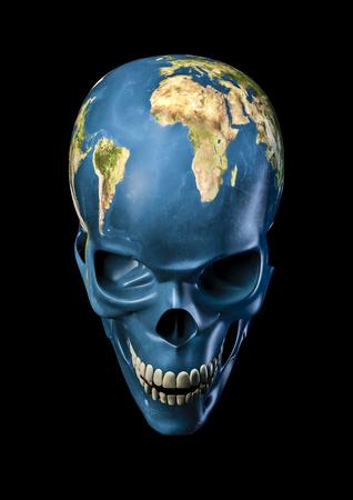 나쁜 어스 3D 행성 지구 무서운 두개골의 렌더링 스톡 콘텐츠