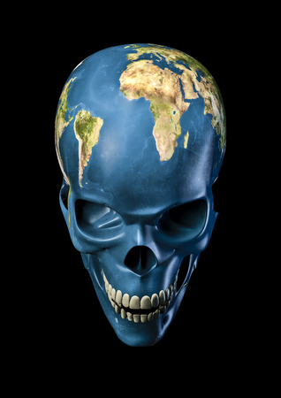 Bad Earth  3D render of scary skull as planet Earth