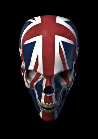 bandera de reino unido: 3D brit�nica de terror rinden del cr�neo adornado con la bandera de Reino Unido