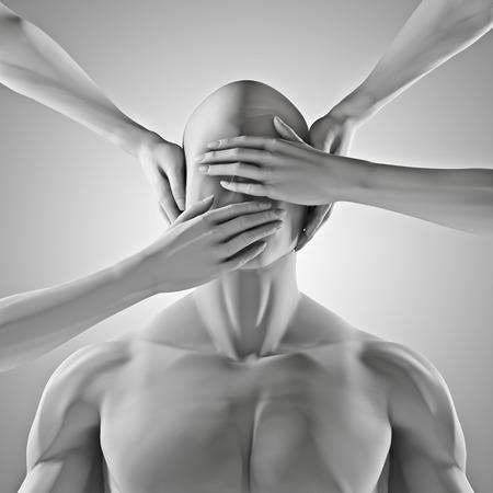 escuchar: No hablar de ningún mal 3D rinden de figura masculina con las manos sobre los ojos, los oídos y la boca Foto de archivo