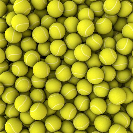 TENIS: Fondo de las bolas de ping pong en 3D render de pelotas de tenis llenando imagen Foto de archivo