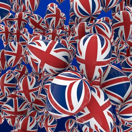 bandera reino unido: Globos UK 3D rinden de globos con la bandera de Reino Unido decoraci�n Foto de archivo