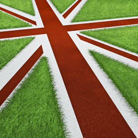 sports track: UK sports track flag  3D render of UK flag as sports track concept