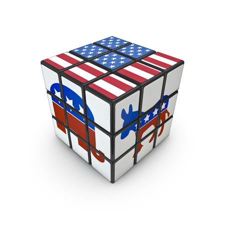 선거 당일 퍼즐 미국 국기와 공화당과 민주당 기호 퍼즐 큐브의 3D 렌더링