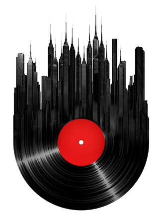 record label: Vinyl city, 3D render of vinyl record and city concept