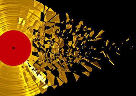 gold record: 3D render of shattering gold vinyl record