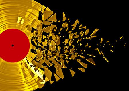 3D render of shattering gold vinyl record