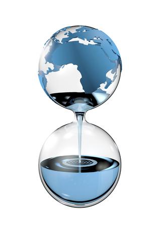 vasos de agua: Reloj de arena del agua, 3D render de concepto de agua potable Foto de archivo