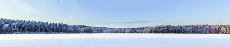 frozen lake: Panoramic view over frozen lake in Finland in December