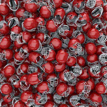 casco rojo: 3D hacen de los cascos de fútbol americano, fácil de colorear Foto de archivo