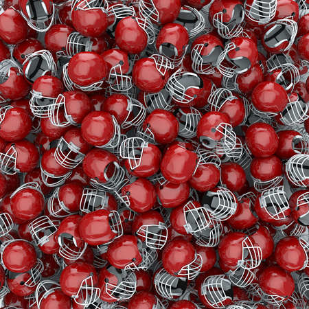 college football: 3D render of American football helmets, easy to colorize