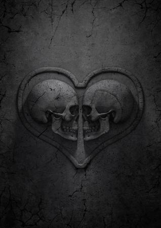 고딕 발렌타인 데이, 심장을 형성하는 돌 두개골의 3D 렌더링