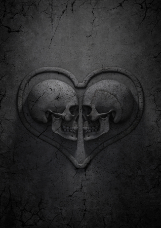 gothic heart: Gothic valentine, 3D render of stone skulls forming heart