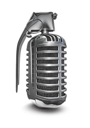 remix: Microphone grenade, 3D render of retro microphone grenade