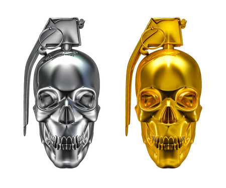Skull grenade, 3D render of skull as grenade in silver and gold isolated on white