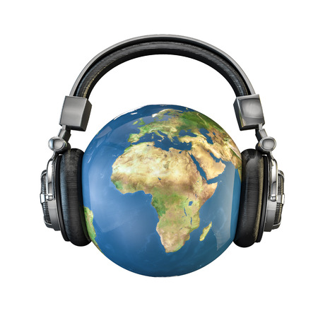 music 3d: World music, 3D render of planet Earth with headphones