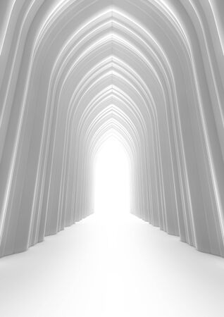 Hall of light 3D render of high arched hall filled with bright light