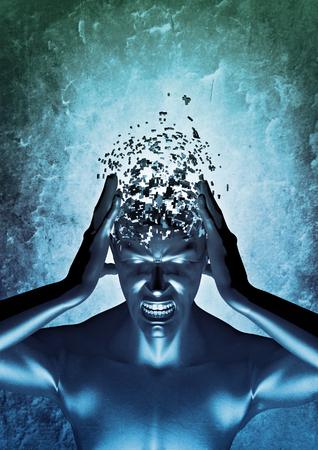 마음 불고 3D 정신적 고통 개념의 렌더링