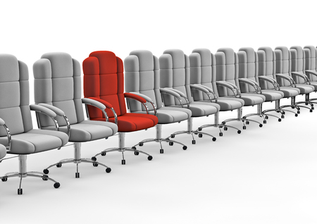 standout: Next in line  3D render of red office chair in row of white ones Stock Photo