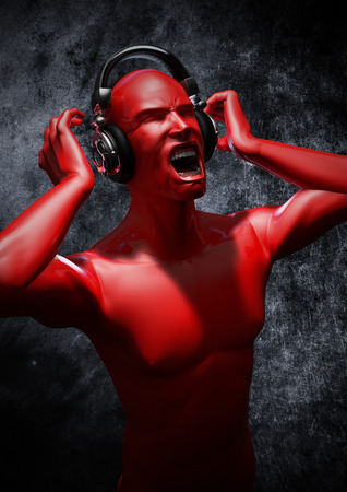 loud music: Music to blow your mind  3D render of male figure listening to painfully loud music through headphones Stock Photo
