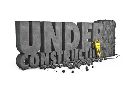 In aanbouw steen 3D renderen van onder constructie tekst gesneden uit stenen blok met een drilboor Stockfoto