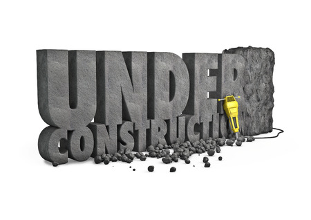 Under construction stone  3D render of under construction text cut from stone block with jackhammer