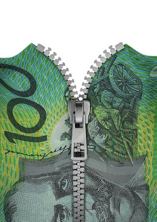 australian dollar notes: Zippered Australian hundred dollar note  3D render of hundred Australian dollar note split with zipper Stock Photo