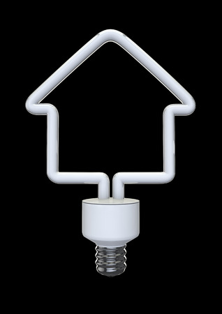 conservation: Energy bulb house  3D render of house shaped energy bulb