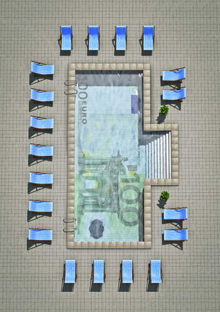3d swimming pool: Euro pool  3D render of swimming pool with hundred euro note tiled on bottom