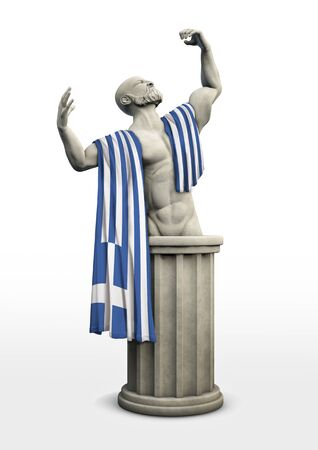 Greek tragedy  Tragic Greek statue draped with flag of Greece Stock Photo