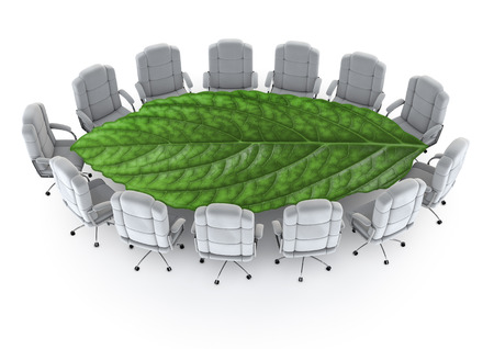 The green boardroom  3D render of boardroom with leaf as table Stock Photo