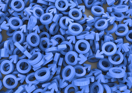 Male background  3D render of male gender symbols filling image Фото со стока