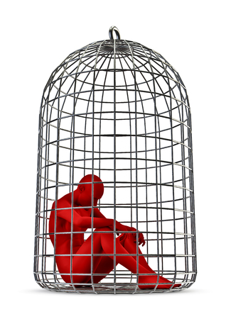 detain: Jailbird  3D render of male figure trapped in birdcage