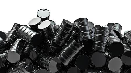 오일 드럼의 더미 검은 기름 드럼의 3D 렌더링 스톡 콘텐츠