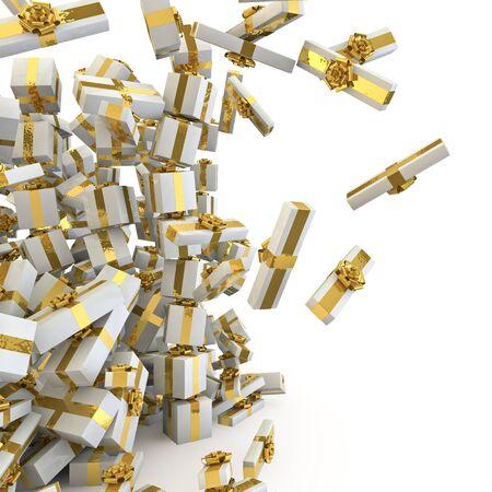 크리스마스 선물을 텀블링하는 크리스마스 선물의 더미를 쏟아의 3d 렌더링 스톡 콘텐츠
