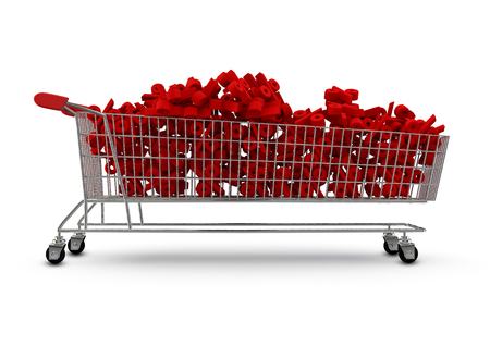 extra large: Extra large shopping trolley percentages  3D render of extra large shopping trolley filled with percentage symbols