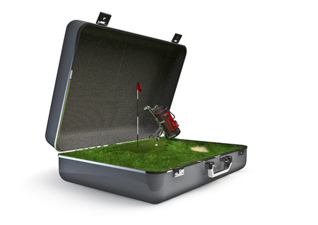 golfcourse: Package holiday golf  3D render of golf tourism concept