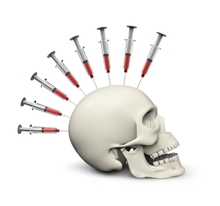 Fatal addiction  3D render of skull with row of syringes embedded on top Stock Photo