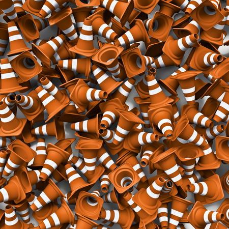 traffic   cones: Traffic cones background  3D render of lots of traffic cones