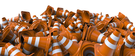 traffic   cones: Pile of traffic cones  3D render of lots of traffic cones Stock Photo