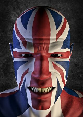 uk flag: Gran fan UK 3D render del hombre sonriente decorada con bandera del Reino Unido