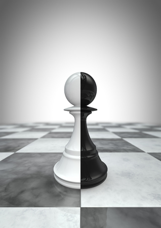 looser: Big pawn black and white  3D render of two coloured pawn chess piece Stock Photo